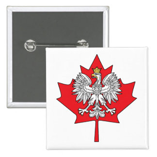 Polish Canadian Maple Leaf 2 Inch Square Button