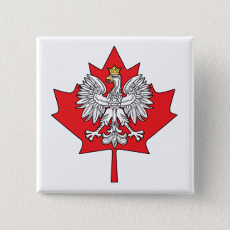 Polish Canadian Maple Leaf Button