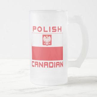 Polish Canadian Poland Falcon Flag Frosted Glass Beer Mug
