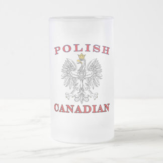 Polish Canadian White Eagle Frosted Glass Beer Mug