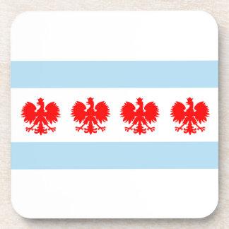 Polish Chicago Flag Beverage Coasters