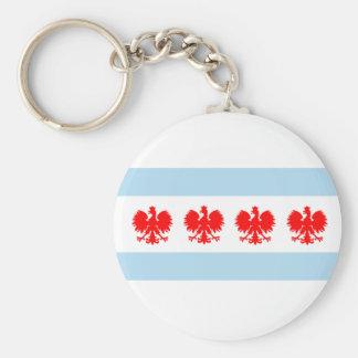 Polish Chicago Flag Keychain