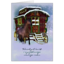 Polish Christmas Card - Horse And Old Caravan - We