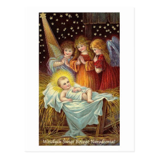 POLISH CHRISTMAS CARD WITH ANGELS AND BABY JESUS