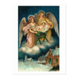 POLISH CHRISTMAS CARD WITH ANGELS AND BABY JESUS POSTCARD