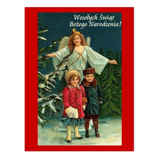 POLISH CHRISTMAS CARD WITH ANGELS and CHILDREN