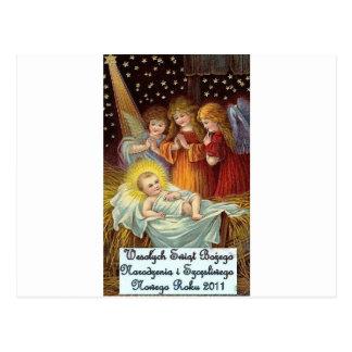 POLISH CHRISTMAS ITEMS WESOLYCH SWIAT POSTCARD