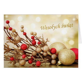 Polish Christmas - red and gold baubles Card