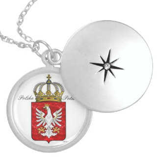 POLISH CREST WITH CROWNED EAGLE STERLING SILVER NECKLACE