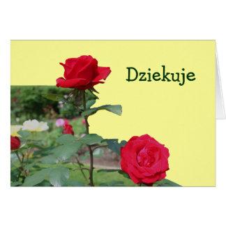 Polish Dziekuje Thank You Card Red Roses