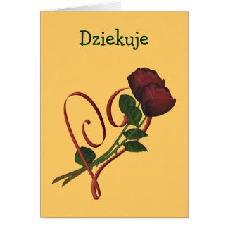 Polish Dziekuje Thank You Card Red Roses Heart