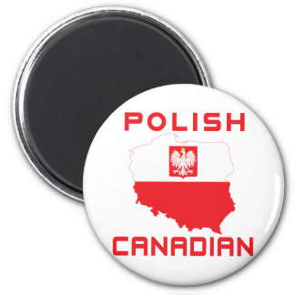 Polish Eagle Canadian Map 2 Inch Round Magnet