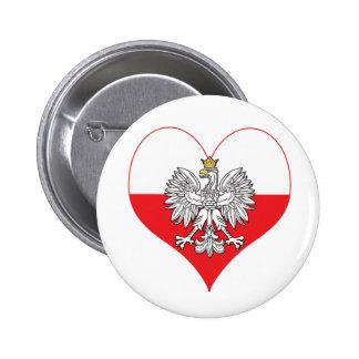 Polish Eagle Heart Button