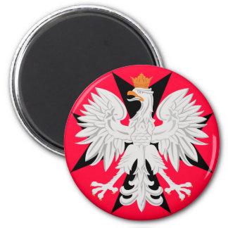 Polish Eagle Maltese Cross 2 Inch Round Magnet
