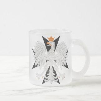 Polish Eagle Maltese Cross Frosted Glass Coffee Mug