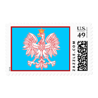 Polish Eagle Outlined In Red Custom Postage
