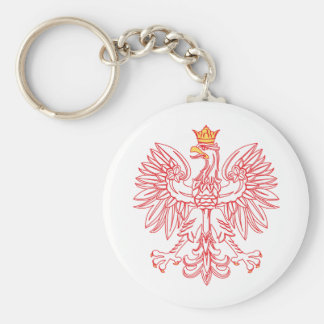 Polish Eagle Outlined In Red Keychain
