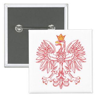 Polish Eagle Outlined In Red Pinback Button