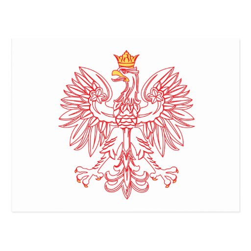 Polish Eagle Outlined In Red Postcard