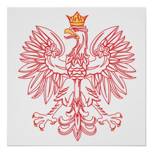 Polish Eagle Outlined In Red Posters