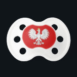 """Polish Eagle Pacifier<br><div class=""""desc"""">This design is based on the white eagle found in the national coat of arms of Poland.</div>"""