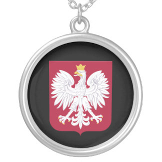 Polish Eagle Red Shield Silver Plated Necklace