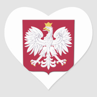 Polish Eagle Red Shield Heart Sticker