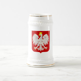 Polish Eagle Shield White+Gold Beer Stein
