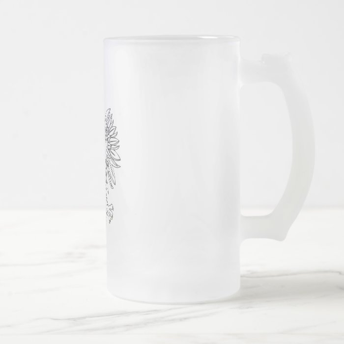 Polish Eagle With Gold Crown Frosted Glass Beer Mug
