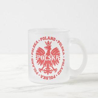 Polish Eagle with Poland Polska Text Frosted Glass Coffee Mug