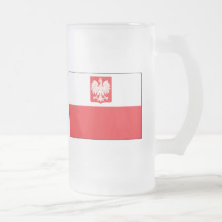Polish Falcon Flag Frosted Glass Beer Mug