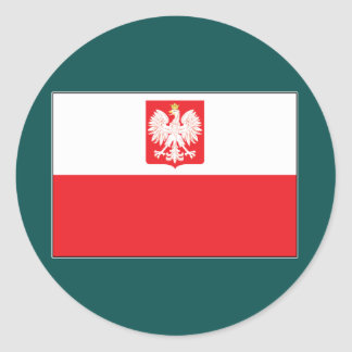Polish Falcon Flag Round Stickers