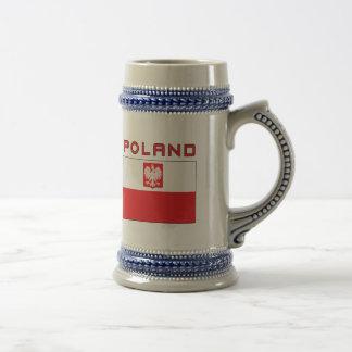 Polish Falcon Flag With Poland 18 Oz Beer Stein