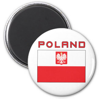 Polish Falcon Flag With Poland 2 Inch Round Magnet