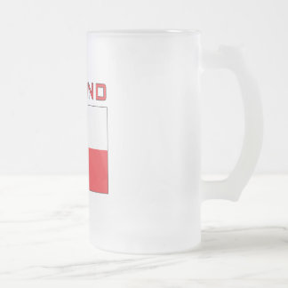 Polish Falcon Flag With Poland Frosted Glass Beer Mug