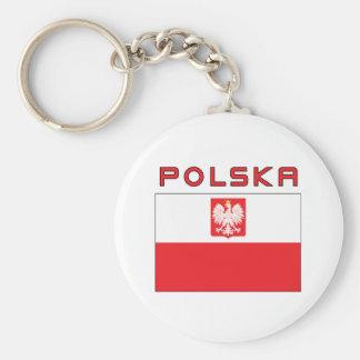Polish Falcon Flag With Polska Basic Round Button Keychain