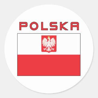 Polish Falcon Flag With Polska Classic Round Sticker
