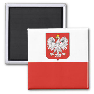 Polish Flag 2 Inch Square Magnet