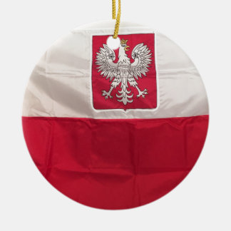 POLISH FLAG AND EAGLE CERAMIC ORNAMENT