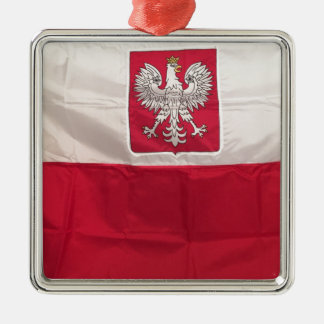 POLISH FLAG AND EAGLE METAL ORNAMENT