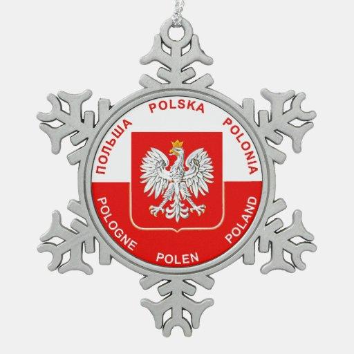 Polish Flag colors with Eagle Christmas Ornament
