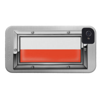 Polish Flag in a Steel Frame iPhone 4 Covers
