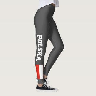 Polish flag leggings for sport fitness yoga