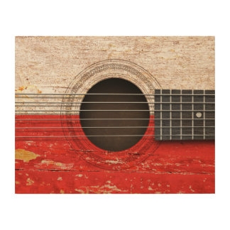 Polish Flag on Old Acoustic Guitar Wood Wall Art