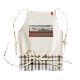 Polish Flag on Rough Wood Boards Effect Zazzle HEART Apron