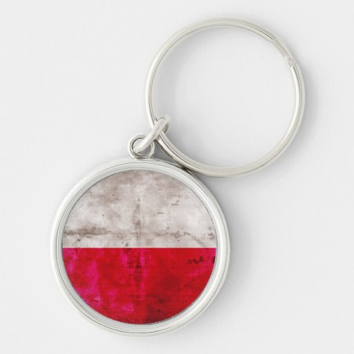 Polish Flag Silver-Colored Round Keychain