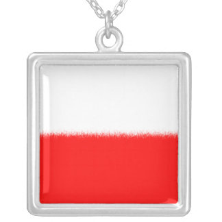 Polish Flag Square Pendant Necklace