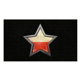 Polish Flag Star with Steel Mesh Effect Business Card