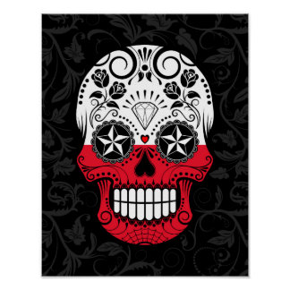Polish Flag Sugar Skull with Roses Poster