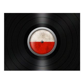 Polish Flag Vinyl Record Album Graphic Postcard